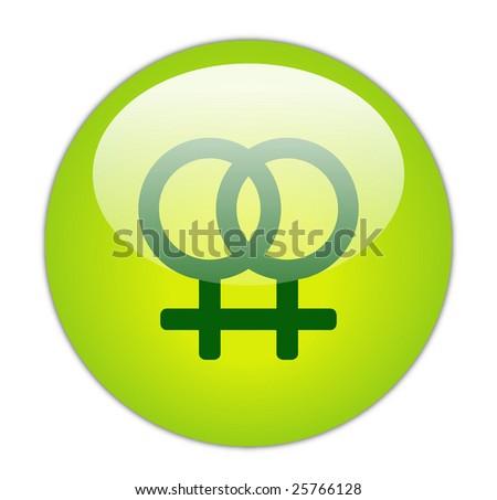 Glassy Green Lesbian Icon - stock photo