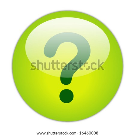 Glassy Green Question Mark Icon Button - stock photo