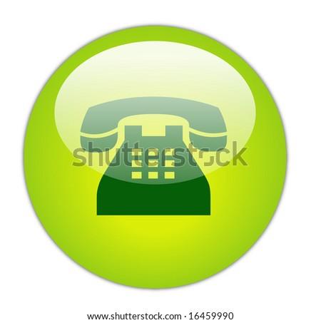 Glassy Green Telephone Icon Button - stock photo