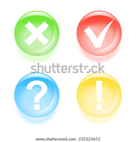 Glassy information icons. 2d illustration