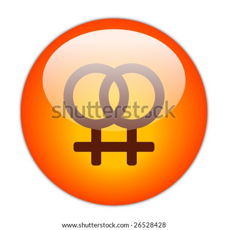 Glassy Red Lesbian Icon - stock photo