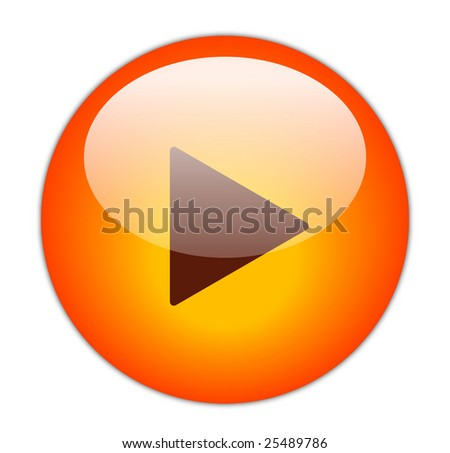 Glassy Red Play Icon - stock photo