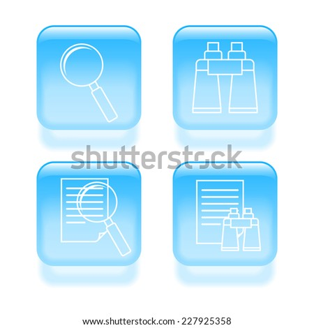 Glassy search icons. 2d illustration - stock photo