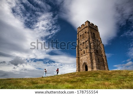 GLASTONBURY-JULY 15: Glastonbury Tor located on a windy hill in Somerset.On July 15,2010,England