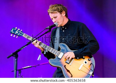 Glastonbury, Somerset, UK - June 27, 2015 - Ben Howard playing Glastonbury Festival's Other Stage - stock photo