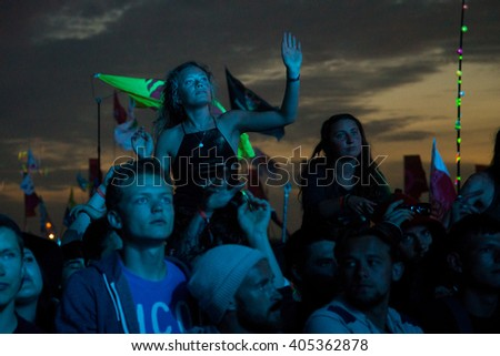 Glastonbury, Somerset, UK - June 28, 2015 - Festival goers enjoying Chemical Brothers playing Glastonbury Festival's Other Stage