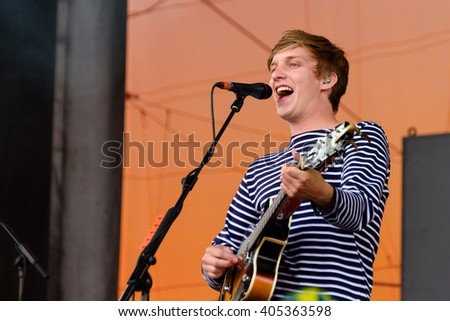 Glastonbury, Somerset, UK - June 27, 2015 - George Ezra playing Glastonbury Festival's Pyramid Stage - stock photo