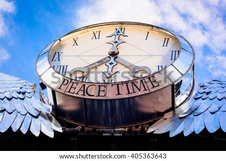 Glastonbury, Somerset, UK - June 28, 2015 - Glastonbury Festival's Pyramid Stage Clock - Peace Time