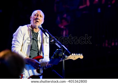Glastonbury, Somerset, UK - June 28, 2015 - Pete Townshend of The Who Headlining Glastonbury Festival's Pyramid Stage - stock photo
