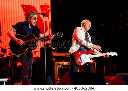 Glastonbury, Somerset, UK - June 28, 2015 - Roger Daltrey and Pete Townshend of The Who Headlining Glastonbury Festival's Pyramid Stage - stock photo