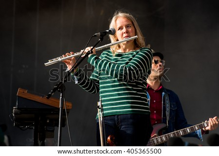 Glastonbury, Somerset, UK - June 28, 2015 - Sarah Martin of Belle and Sebastian playing Glastonbury Festival's Other Stage - stock photo