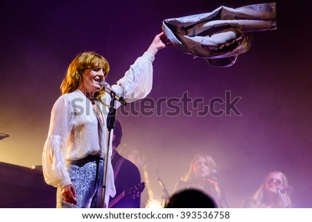 Glastonbury, Somerset, UK - June  26th, 2015 - Florence Welch of Florence and the Machine headlining Glastonbury Festival's Pyramid Stage.