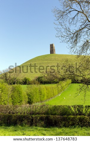 Glastonbury Tor, Somerset, England, a Scheduled Ancient Monument at the location believed by some to be the Avalon of King Arthur legend.