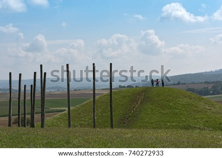 GLAUBERG,GERMANY-AUGUST 16, 2017: Reconstructed grave hill in the park of the Celtic world on the Glauberg, Hesse, Germany