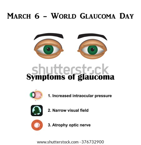 Glaucoma. Symptoms of glaucoma. Atrophy of the optic nerve. Field of view at glaukome.Stroenie eyes. Infographics. illustration on isolated background. - stock photo