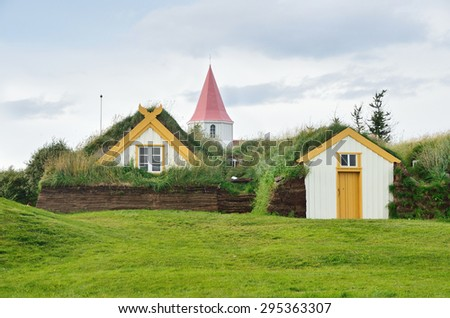 Glaumbaer, Iceland, August, 14, 2014. Nobody, the houses, covered with turf