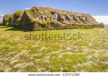 Glaumber old traditional Icelandic farm. Sunny summer day. - stock photo