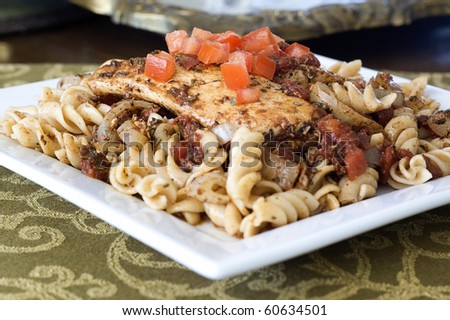 Glazed Balsamic Chicken Breast with Whole Wheat Rotini Pasta - stock photo