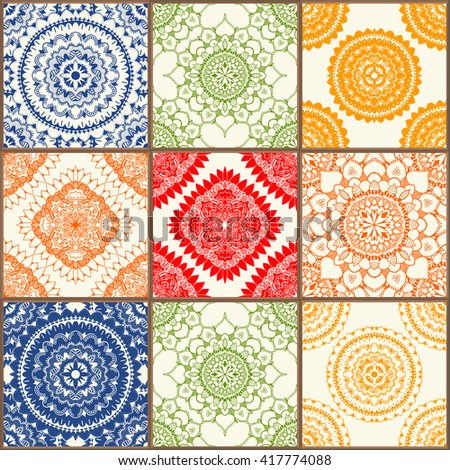 Glazed ceramic tiles set. Colorful vintage tiles with floral and geometrical patterns, Spanish, Italian, Portuguese and oriental motifs.  - stock photo