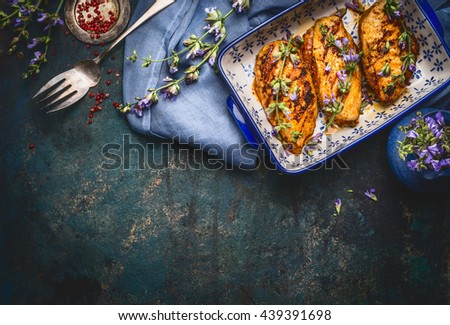 Glazed Chicken breast with Balsamic Vinaigrette and fresh flavoring on dark rustic background, top view, border - stock photo