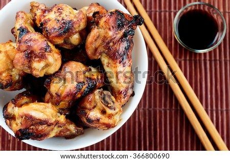 Glazed chicken wings drumstick - stock photo