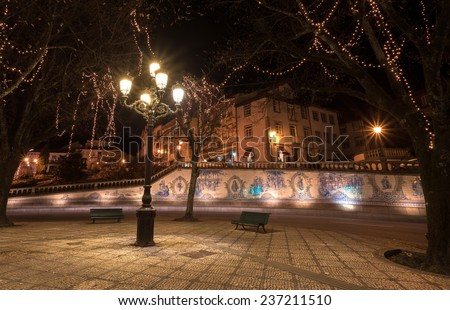 Glazed Tile Wall in Viseu Square at Night, Portugal - stock photo