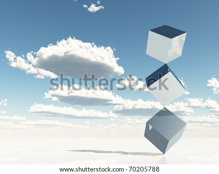 Gleaming stacked cubes - stock photo