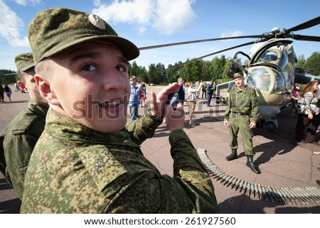 Glebychevo Russia on 12 August 2012. Day air force in the village of Glebychevo military parade