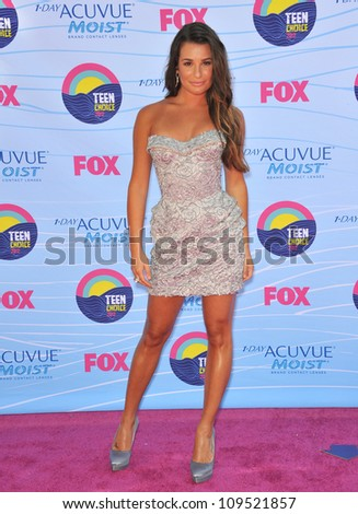 Glee star Lea Michele at the 2012 Teen Choice Awards at the Gibson Amphitheatre, Universal City. July 23, 2012  Los Angeles, CA Picture: Paul Smith / Featureflash