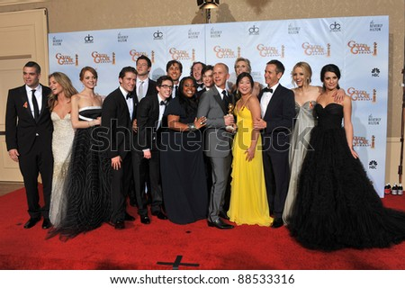Glee stars at the 67th Golden Globe Awards at the Beverly Hilton Hotel. January 17, 2010  Beverly Hills, CA Picture: Paul Smith / Featureflash - stock photo