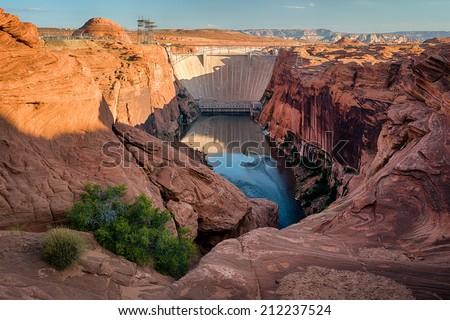 Glen Canyon dam and Lake Powell in Page, Arizona - stock photo