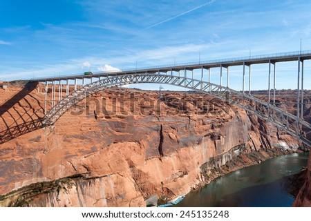 Glen Canyon Dam Bridge over Colorado near Page, Arizona - stock photo