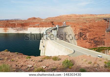 Glen Canyon Dam - concrete arch dam on the Colorado River in northern Arizona in the United States - stock photo