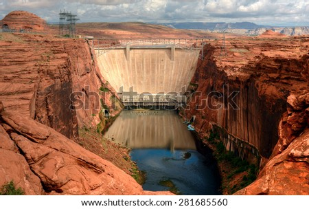 Glen Canyon dam on the colorado river and lake powell - stock photo
