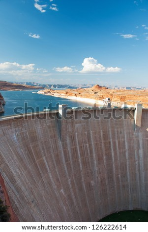 Glen Canyon Dam panorama with Colorado River in Lake Powell at Page, Arizona, USA - stock photo