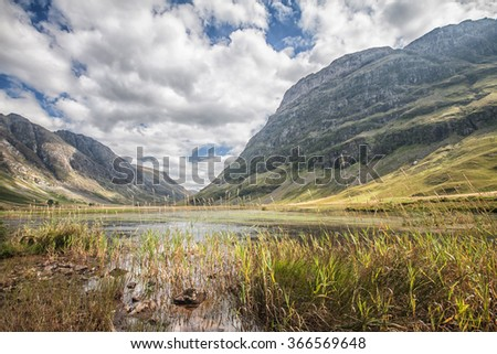 Glen Coe in the Scottish Highlands. - stock photo