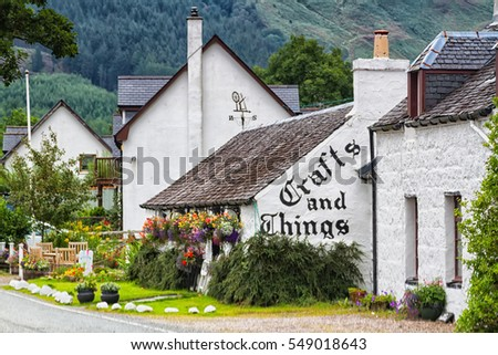 GLEN COE, SCOTLAND, UK - SEPTEMBER 18, 2016: Local craft store with souvenirs and others hand crafted items in an old house, Glen Coe village, Scotland, United Kingdom
