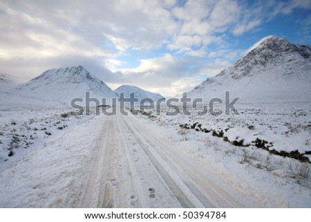 Glen Etive Road in Winter. - stock photo
