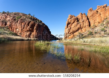 Glen Helen Waterhole Central Australia near Alice Springs in West Macdonnel Ranges - stock photo