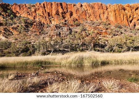Glen Helen Waterhole Central Australia near Alice Springs in West Macdonnel Ranges - stock photo