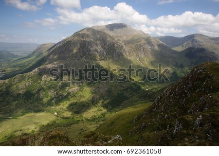 Glen Nevis and Ben Nevis, highest mountain in the UK from the slopes of Sgurr a' Mhaim on a hazy summers day.