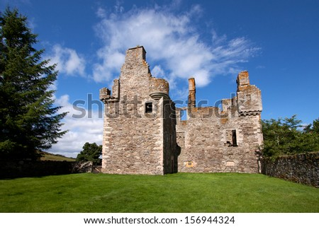 Glenbuchat Castle near Kildrummy, Aberdeenshire, Scotland is a Z-plan fortress built in 1590 by the Gordon family. It was confiscated in 1745 as punishment for supporting the Jacobite rebellion.
