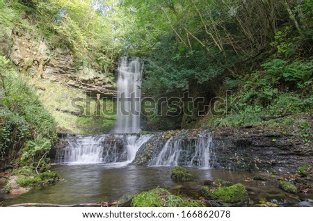 Glencar river and waterfall, Ireland - stock photo