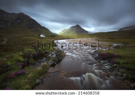 Glencoe mountains, Scottish Highlands, United Kingdom, in a cloudy day - stock photo