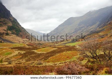 Glencoe. Overcast Day. May. Scottish Highlands. UK - stock photo