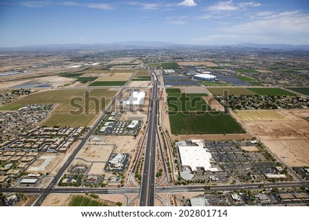 Glendale, Arizona looking North from Camelback Road up the Loop 101 freeway - stock photo