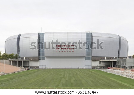 GLENDALE, AZ - December 19, 2015: Arizona Cardinals University of Phoenix Stadium with grass out of the stadium. It opened in 2006 as a multipurpose football stadium located.