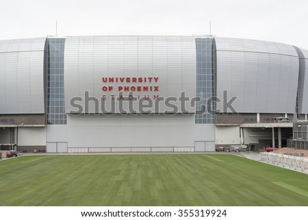 GLENDALE, AZ - December 19, 2015: Arizona Cardinals University of Phoenix Stadium with grass out of the stadium. It was opened in 2006 as a multipurpose football stadium in Glendale, Arizona, Phoenix.