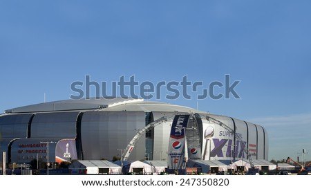 GLENDALE, AZ - JANUARY 24, 2015: Arizona Cardinals University of Phoenix Stadium,  host of Super Bowl XLIX in Glendale, Phoenix metro, is getting ready for Patriots and Seahawks on February 1, 2015