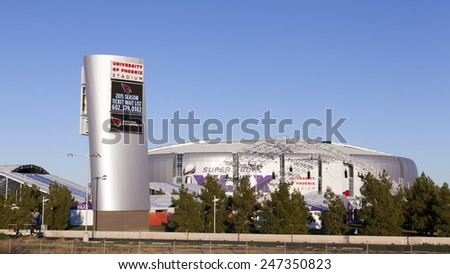 GLENDALE, AZ - JANUARY 24, 2015: University of Phoenix Stadium, home of Arizona Cardinals; Super Bowl XLIX takes place in Phoenix Metro with a game between Patriots and Seahawks on February 1, 2015